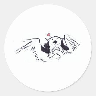 Otter Angel Round Sticker