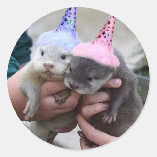otter birthday round sticker