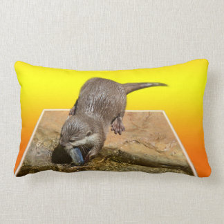 Otter Eating Tasty Fish By His Pond, Lumbar Cushion
