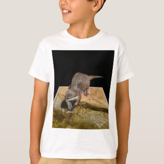 Otter Eating Tasty Fish, Kids White T-shirt