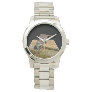 Otter Eating Tasty Fish Large Unisex Silver Watch. Watch