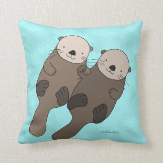 Otter Holding Hands Pillow Cute Otter Throw Pillow