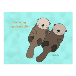 Otter Holding Hands Postcard Cute Otter Couple