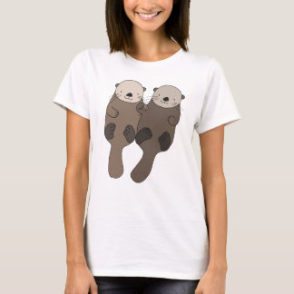 Otter Holding Hands T-shirt Cute Otter Graphic tee