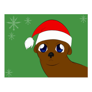 otter in a Christmas hat Postcard