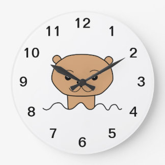 Otter in Water. Large Clock