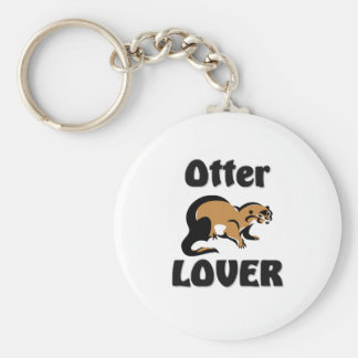 Otter Lover Basic Round Button Key Ring
