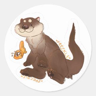 Otter n' Goldfish Classic Round Sticker