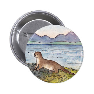 otter of the loch 6 cm round badge