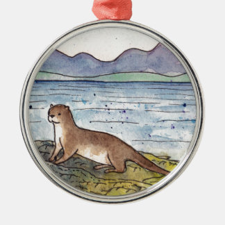 otter of the loch Silver-Colored round decoration
