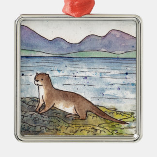 otter of the loch Silver-Colored square decoration