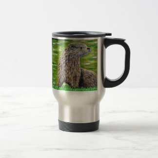Otter on a River Bank Travel Mug