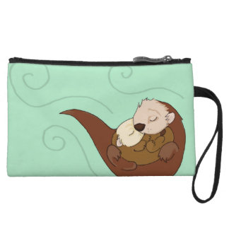 Otter parent and baby wristlet