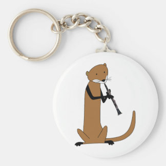 Otter Playing the Clarinet Basic Round Button Key Ring