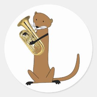 Otter Playing the Euphonium Round Sticker