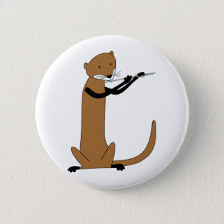 Otter Playing the Flute 6 Cm Round Badge