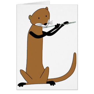 Otter Playing the Flute Greeting Card