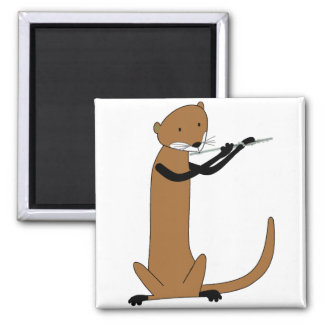 Otter Playing the Flute Square Magnet