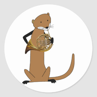 Otter Playing the French Horn Classic Round Sticker