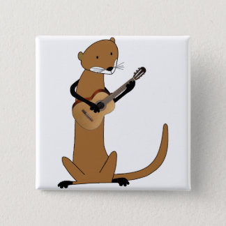 Otter Playing the Guitar 15 Cm Square Badge