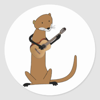 Otter Playing the Guitar Classic Round Sticker