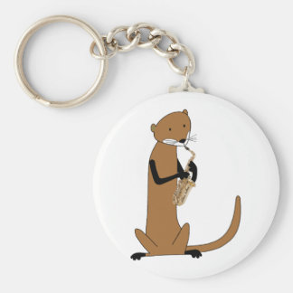 Otter Playing the Saxophone Basic Round Button Key Ring