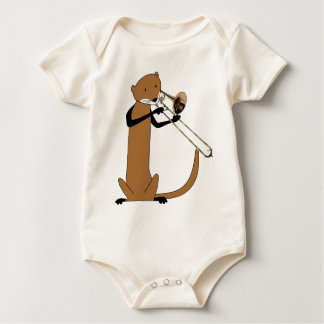 Otter Playing the Trombone Baby Bodysuit