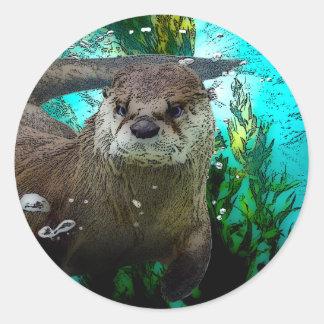 Otter Portrait Round Sticker
