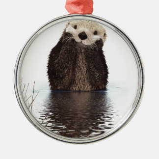 Otter Silver-Colored Round Decoration