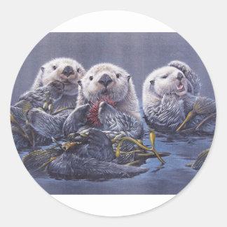 Otter Trio Classic Round Sticker