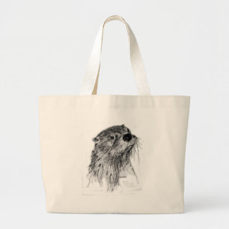 Otter Whiskers Large Tote Bag