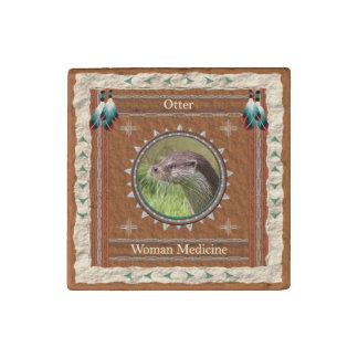 Otter  -Woman Medicine- Primed Marble Magnet