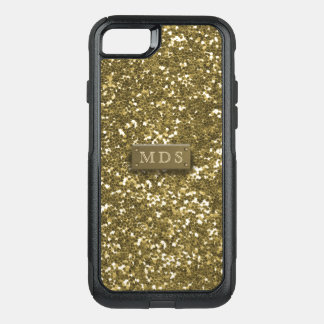 Otterbox Gold Monogram Faux Gold Glitter OtterBox Commuter iPhone 8/7 Case