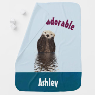 Otterly Adorable Funny Pun with Cute Otter Baby Blanket