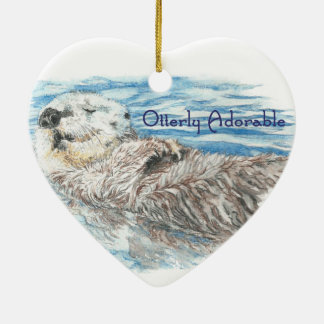 Otterly Adorable Humorous Cute  Otter Animal Christmas Ornament