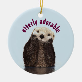 Otterly Adorable Pun with Cute Otter Photo Christmas Ornament