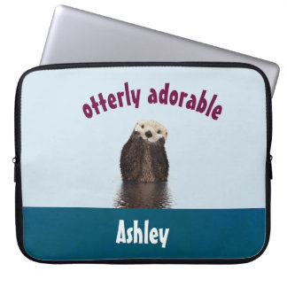 Otterly Adorable Pun with Cute Otter Photo Laptop Sleeve