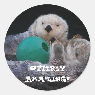 Otterly Amazing Sea Otters Photo Round Sticker