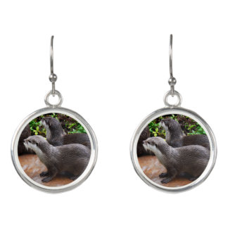 Otterly_Cute_Ladies_Round_Silver_Otter_Earrings. Earrings