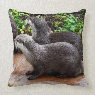 Otterly Cute, Otters, Large Lounge Cushion. Cushion