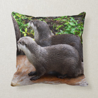 Otterly Cute, Otters, Lounge Cushion. Throw Pillow