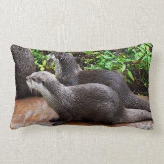 Otterly Cute, Otters, Lumbar Lounge Cushion. Lumbar Cushion