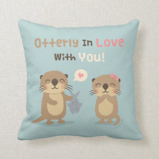 Otterly in Love With You Cute Otter Throw Pillow