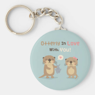 Otterly in Love With You Otter Pun Love Confession Basic Round Button Key Ring