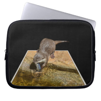 Otterly Tasty Fish, Otter, 10 inch Laptop Sleeve. Computer Sleeves
