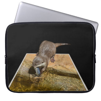 Otterly Tasty Fish, Otter, 13 inch Laptop Sleeve. Laptop Computer Sleeves