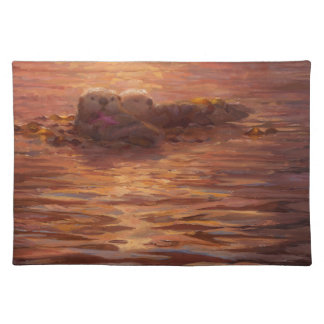 Otters Snuggling at Sunset Floating With Kelp Placemat