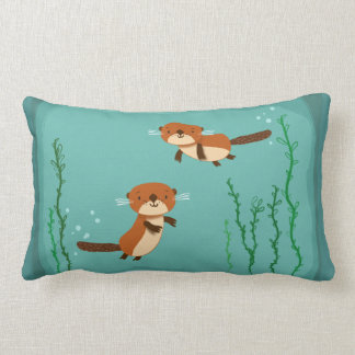 Otters Swimming Lumbar Cushion