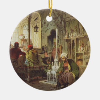 Ottoman Coffee House, 1862 (colour litho) Round Ceramic Decoration