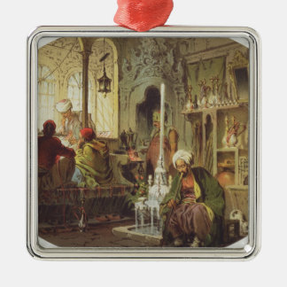 Ottoman Coffee House, 1862 (colour litho) Silver-Colored Square Decoration